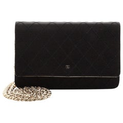 Chanel Diamond Stitch Wallet on Chain Quilted Satin with Lambskin