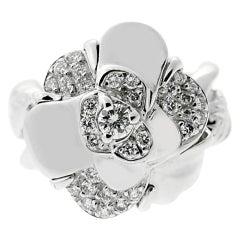 Chanel Diamond White Gold Camelia Ring