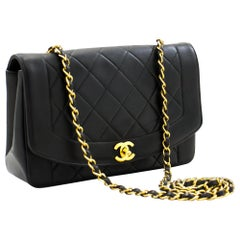 CHANEL Diana Chain Flap Shoulder Bag Black Quilted Purse Lambskin