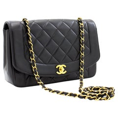 CHANEL Diana Chain Flap Shoulder Crossbody Bag Black Quilted