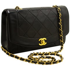 CHANEL Diana Chain Flap Shoulder Crossbody Bag Black Quilted Lamb