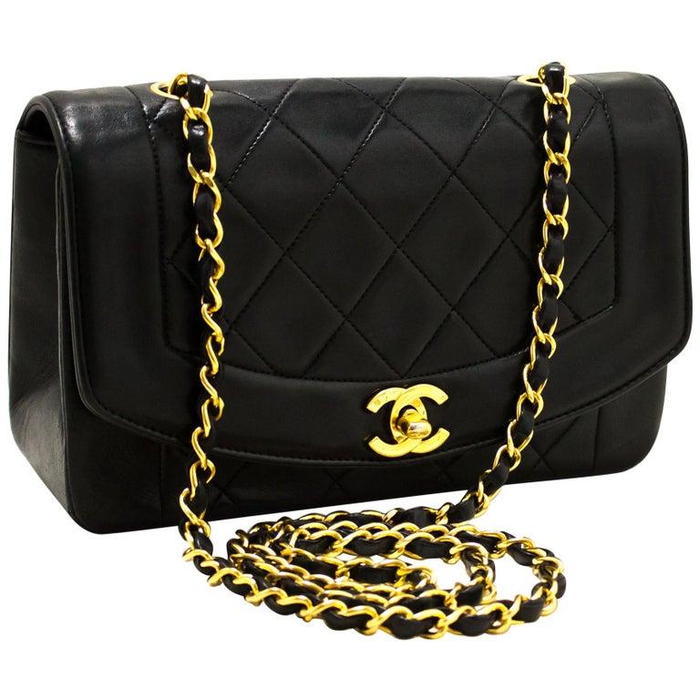 f12f0736822 CHANEL Diana Chain Flap Shoulder Crossbody Bag Black Quilted Lamb