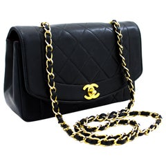 CHANEL Diana Chain Flap Shoulder Crossbody Bag Black Quilted Lamb Leather