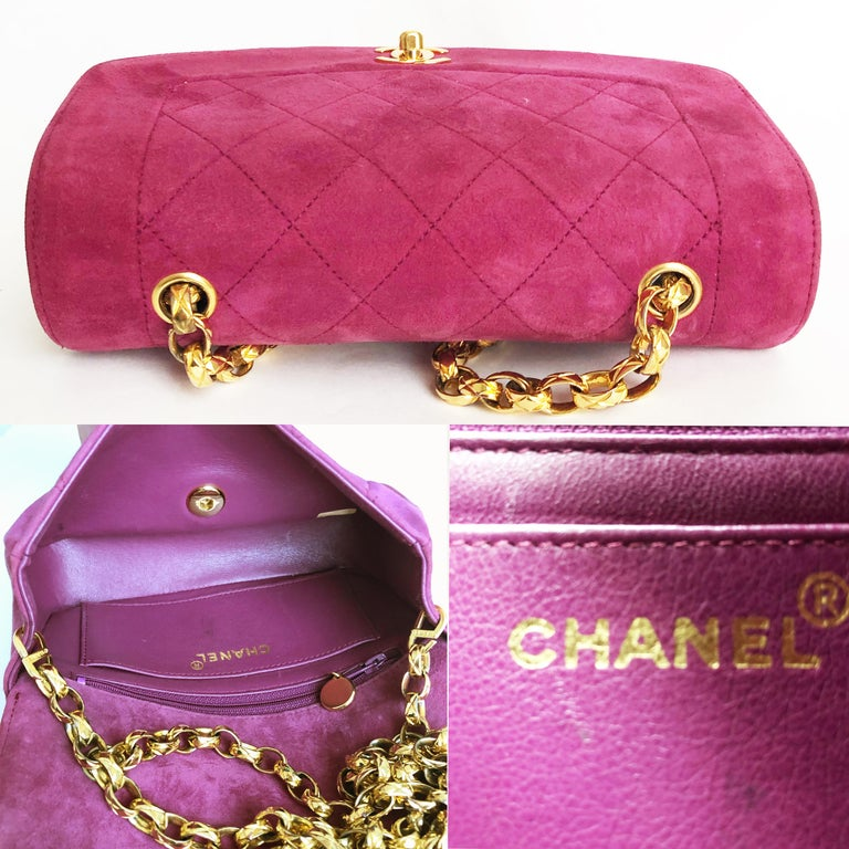 Chanel Diana Classic Flap Bag Pink Suede Leather Vintage 90s  For Sale 5
