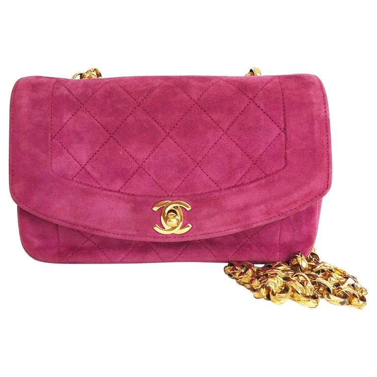 Chanel Diana Classic Flap Bag Pink Suede Leather Vintage 90s  For Sale
