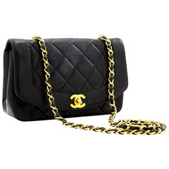 CHANEL Diana Flap Navy Chain Shoulder Bag Quilted Lambskin