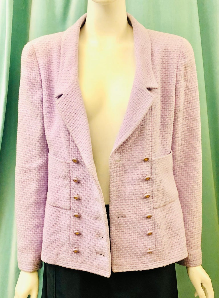Chanel Double Breasted Lavender Cotton Jacket  In Good Condition For Sale In Sheung Wan, HK