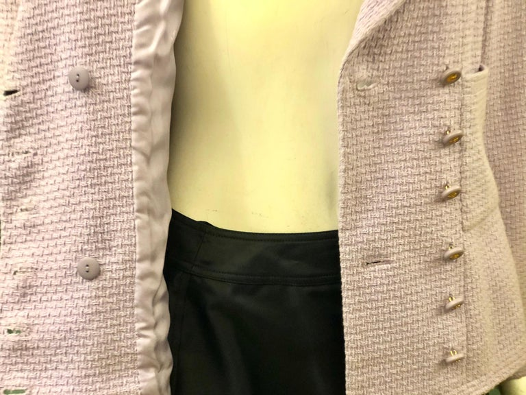 Women's Chanel Double Breasted Lavender Cotton Jacket  For Sale