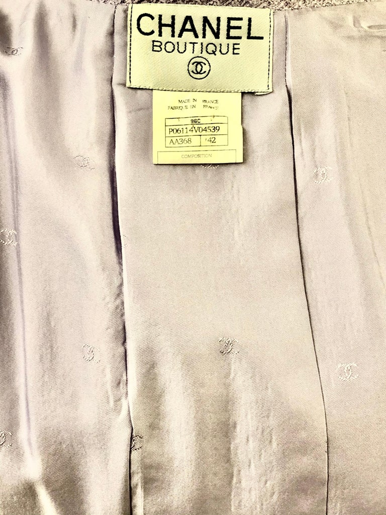 Chanel Double Breasted Lavender Cotton Jacket  For Sale 2