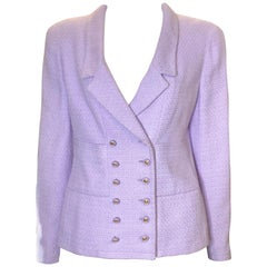 Chanel Double Breasted Lavender Cotton Jacket