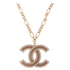 "Chanel Double C Logo Crystal Necklace 24"" Chain Circa 2015"