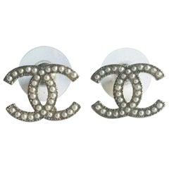 CHANEL Double C Stud Earrings