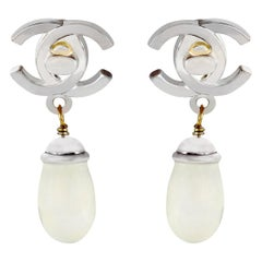 Chanel Double CC Pearl Drop Earrings