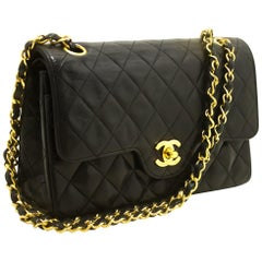 CHANEL Double Chain Flap Shoulder Bag Black Quilted Lambskin