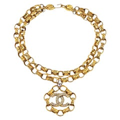 Chanel Double Chain Necklace With Rhinestones