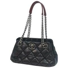 CHANEL double chain shoulder  Womens shoulder bag black x vintage hardware