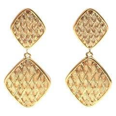Chanel Double Criss Cross Dangle Clip On Earrings
