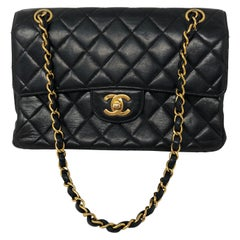 Chanel Double Face Black Leather Bag