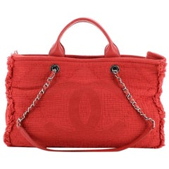 Chanel Double Face Deauville Tote Fringe Quilted Canvas Medium