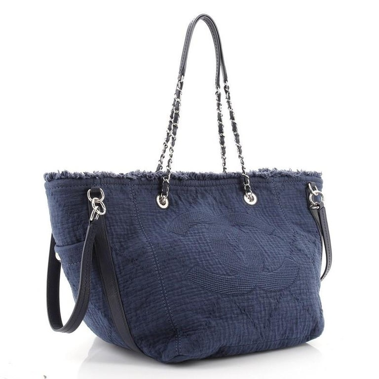 Chanel Double Face Deauville Tote Fringe Quilted Canvas Small In Good Condition For Sale In New York, NY