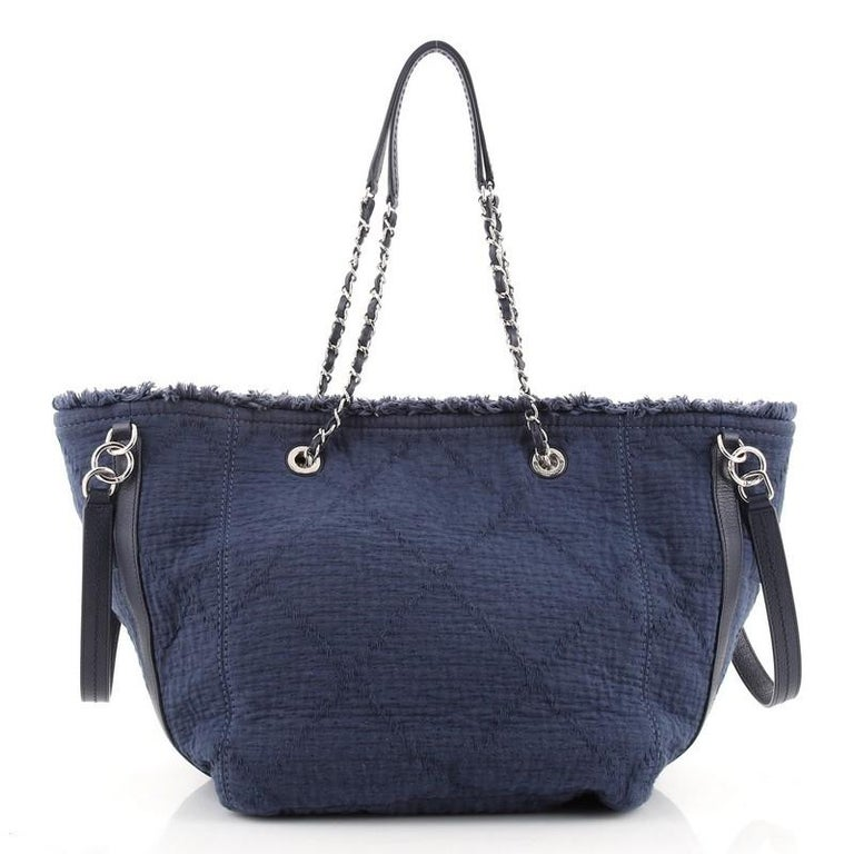 Women's or Men's Chanel Double Face Deauville Tote Fringe Quilted Canvas Small For Sale