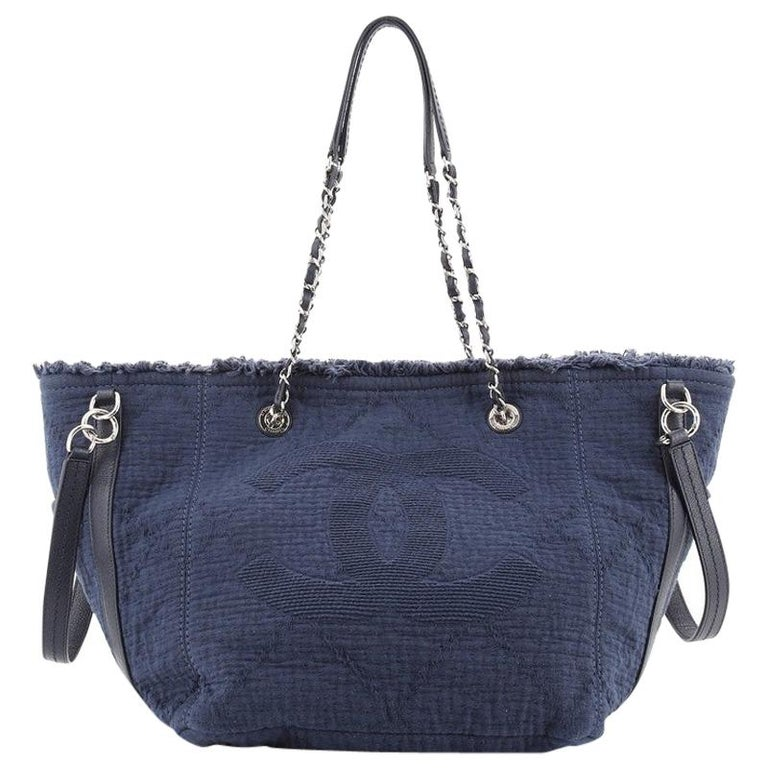Chanel Double Face Deauville Tote Fringe Quilted Canvas Small For Sale