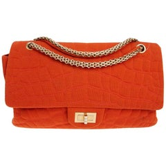 CHANEL Double Flap 2.55 Handbag in Coral Jersey Fabric
