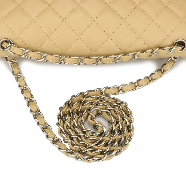 CHANEL Double Flap Jumbo Bag Beige Clair Caviar with Silver Hardware 2013 For Sale 8