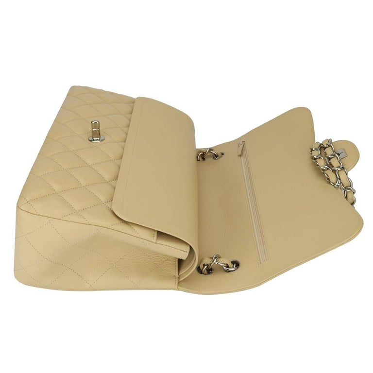 CHANEL Double Flap Jumbo Bag Beige Clair Caviar with Silver Hardware 2013 For Sale 9