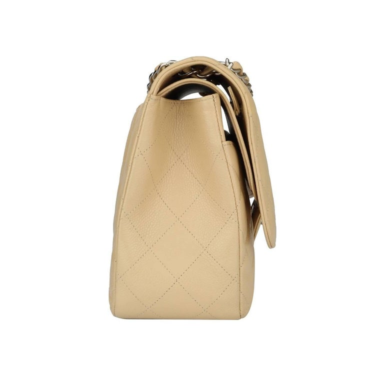 CHANEL Double Flap Jumbo Bag Beige Clair Caviar with Silver Hardware 2013 For Sale 2
