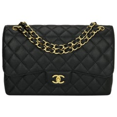 CHANEL Double Flap Jumbo Bag Black Caviar with Gold Hardware 2015