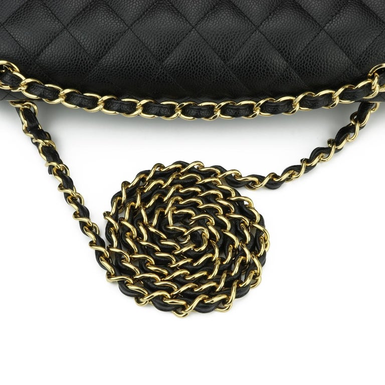 CHANEL Double Flap Jumbo Bag Black Caviar with Gold Hardware 2016 For Sale 8