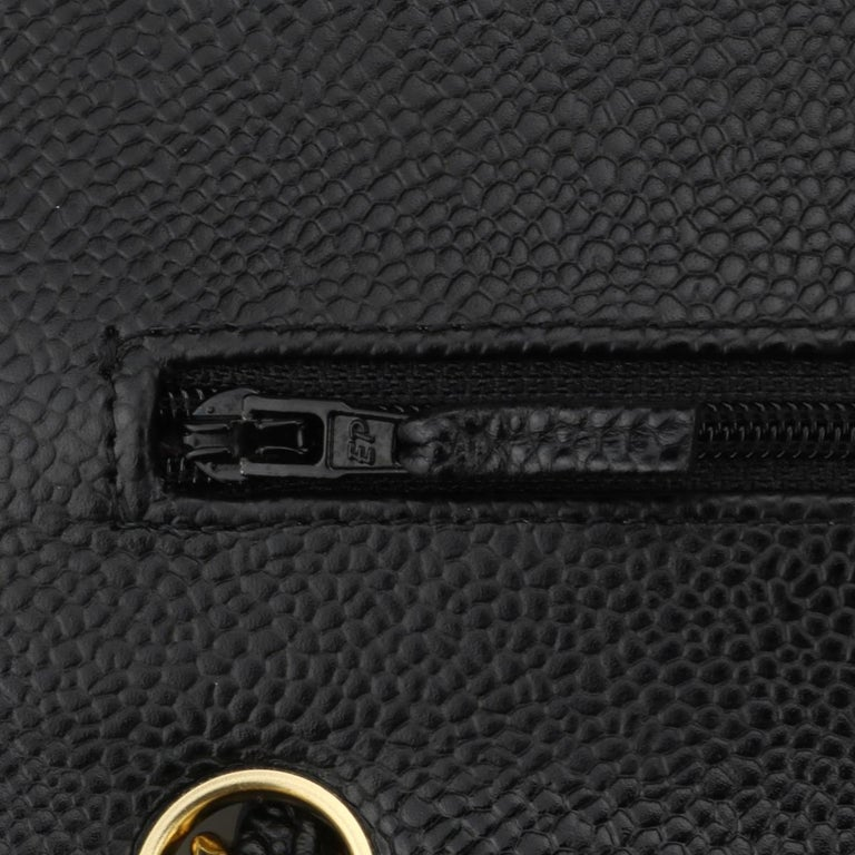 CHANEL Double Flap Jumbo Bag Black Caviar with Gold Hardware 2016 For Sale 11