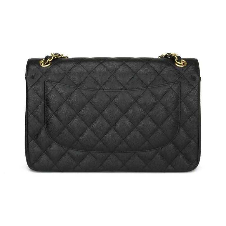 CHANEL Double Flap Jumbo Bag Black Caviar with Gold Hardware 2016 In Excellent Condition For Sale In Huddersfield, GB