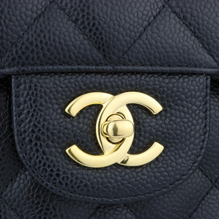 Women's or Men's CHANEL Double Flap Jumbo Bag Black Caviar with Gold Hardware 2016 For Sale
