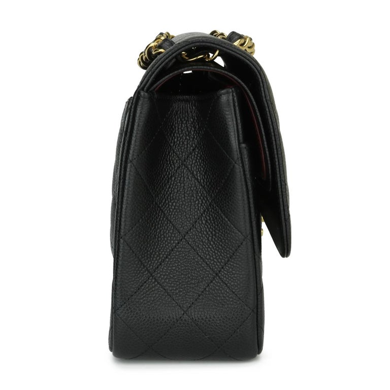 CHANEL Double Flap Jumbo Bag Black Caviar with Gold Hardware 2016 For Sale 2