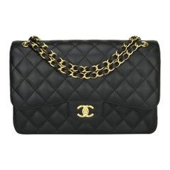 CHANEL Double Flap Jumbo Bag Black Caviar with Gold Hardware 2016