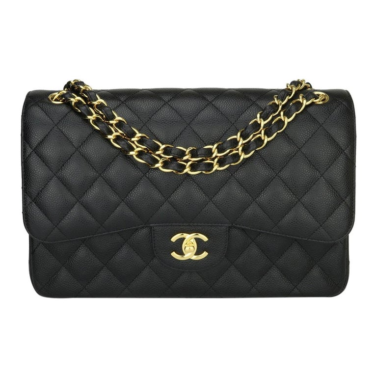 CHANEL Double Flap Jumbo Bag Black Caviar with Gold Hardware 2016 For Sale