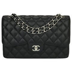 CHANEL Double Flap Jumbo Bag Black Caviar with Silver Hardware 2014