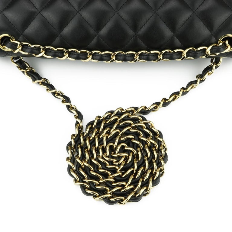 CHANEL Double Flap Jumbo Bag Black Lambskin with Gold Hardware 2014 For Sale 8