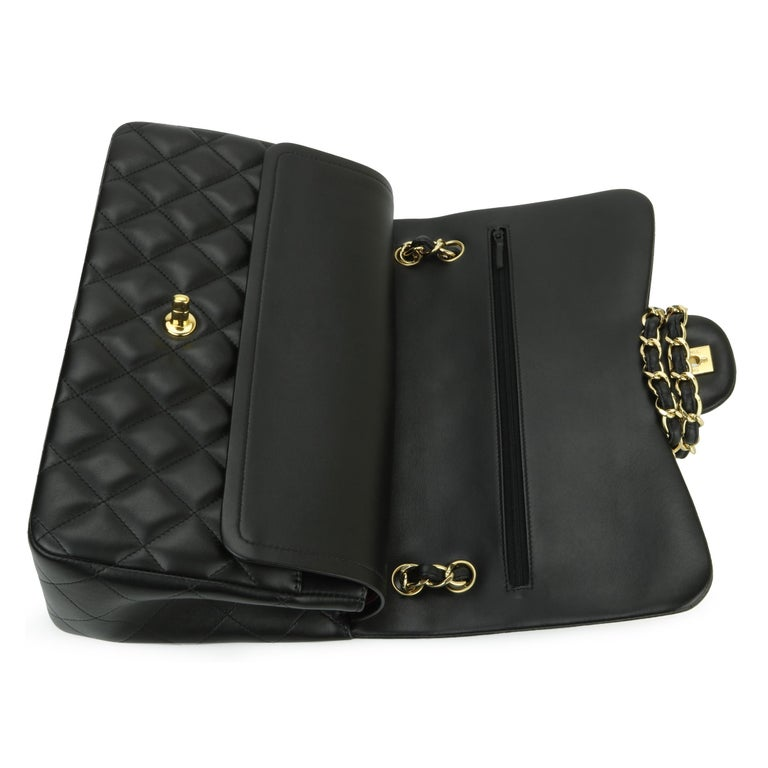 CHANEL Double Flap Jumbo Bag Black Lambskin with Gold Hardware 2014 For Sale 9