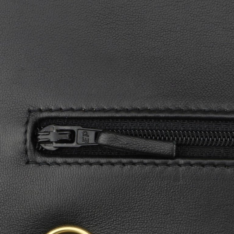 CHANEL Double Flap Jumbo Bag Black Lambskin with Gold Hardware 2014 For Sale 11