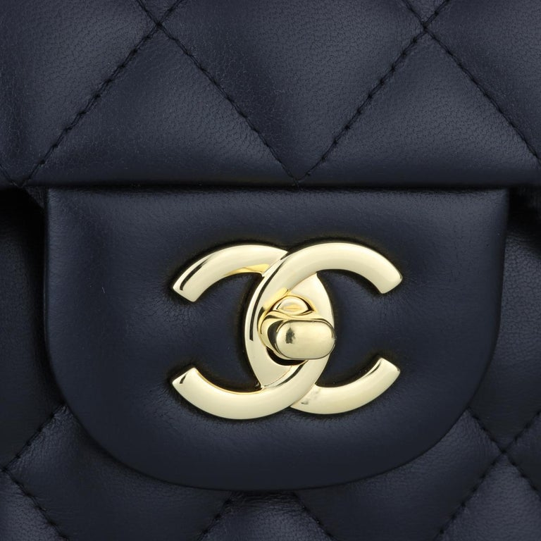 Women's or Men's CHANEL Double Flap Jumbo Bag Black Lambskin with Gold Hardware 2014 For Sale