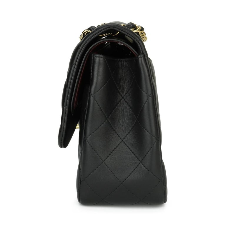 CHANEL Double Flap Jumbo Bag Black Lambskin with Gold Hardware 2014 For Sale 1