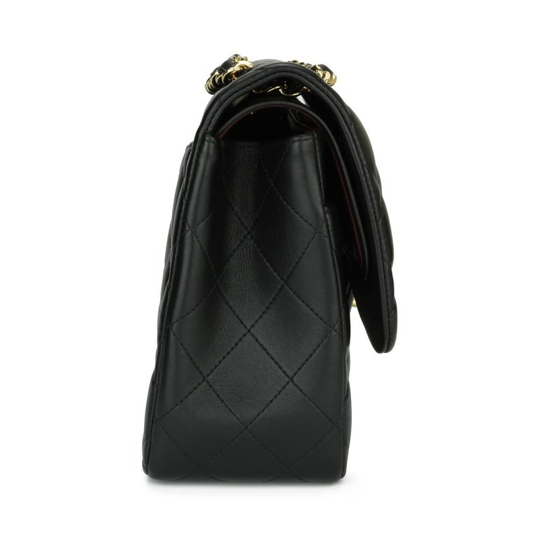 CHANEL Double Flap Jumbo Bag Black Lambskin with Gold Hardware 2014 For Sale 2
