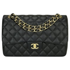 CHANEL Double Flap Jumbo Bag Black Lambskin with Gold Hardware 2014