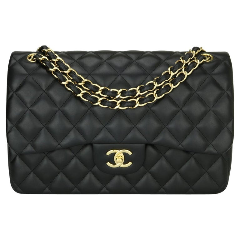 CHANEL Double Flap Jumbo Bag Black Lambskin with Gold Hardware 2014 For Sale