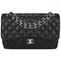 CHANEL Double Flap Jumbo Bag Black Lambskin with Silver Hardware 2012