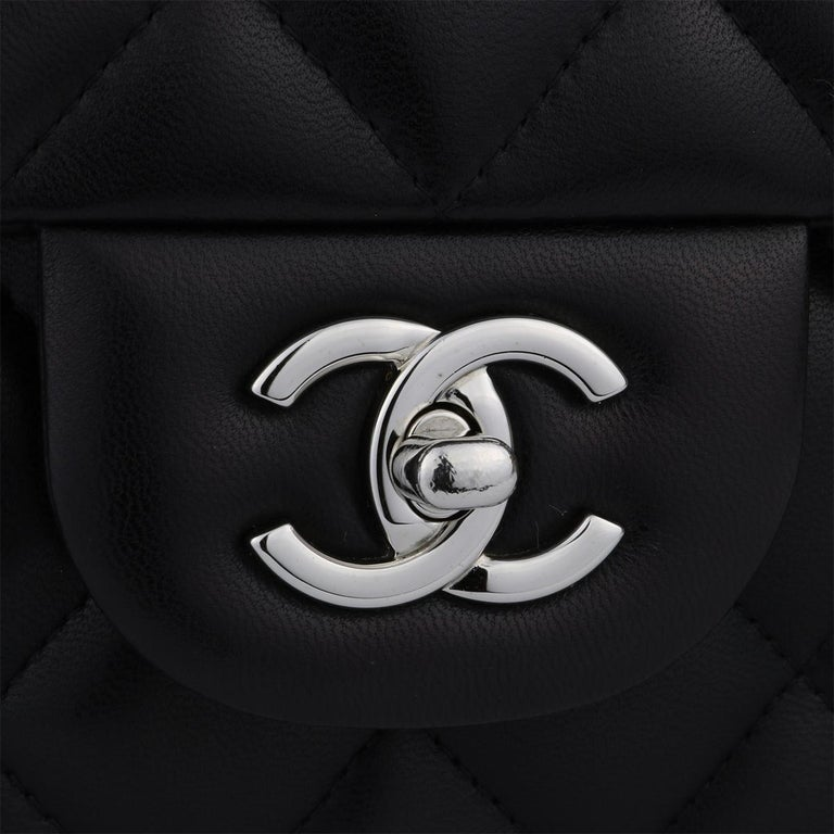 CHANEL Double Flap Jumbo Bag Black Lambskin with Silver Hardware 2013 In Excellent Condition For Sale In Huddersfield, GB