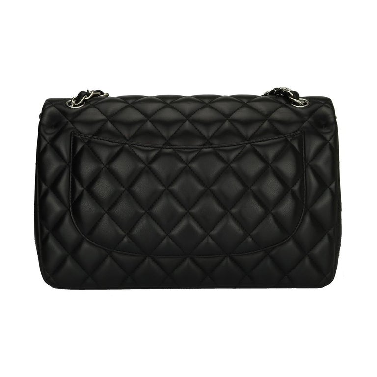 Women's or Men's CHANEL Double Flap Jumbo Bag Black Lambskin with Silver Hardware 2013 For Sale